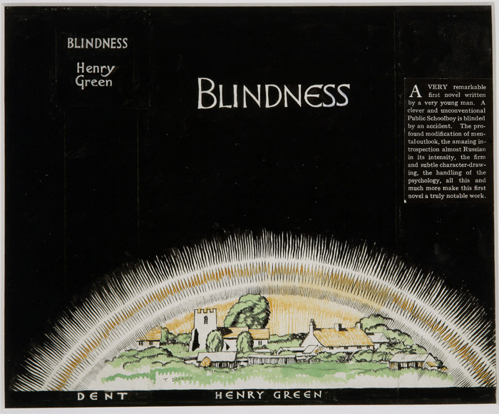"Original design for the dust jacket of Green's first book ""Blindness"", measuring 20 x 24 centimeters, framed and glazed"