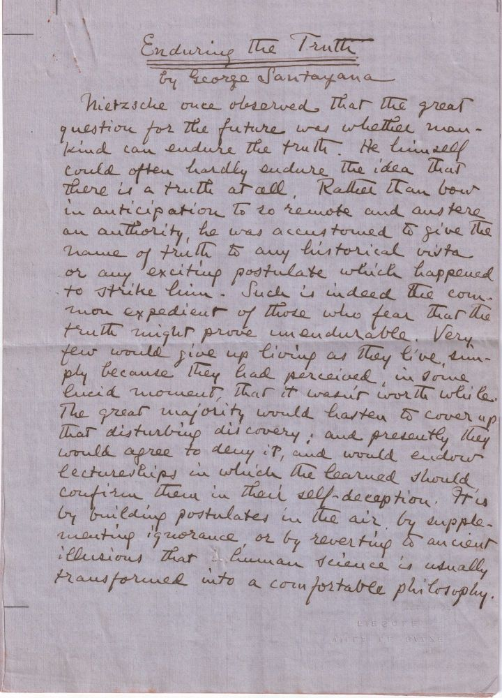 Enduring the Truth, original holograph manuscript of his review of Walter Lippmann's A Preface to Morals. George SANTAYANA.