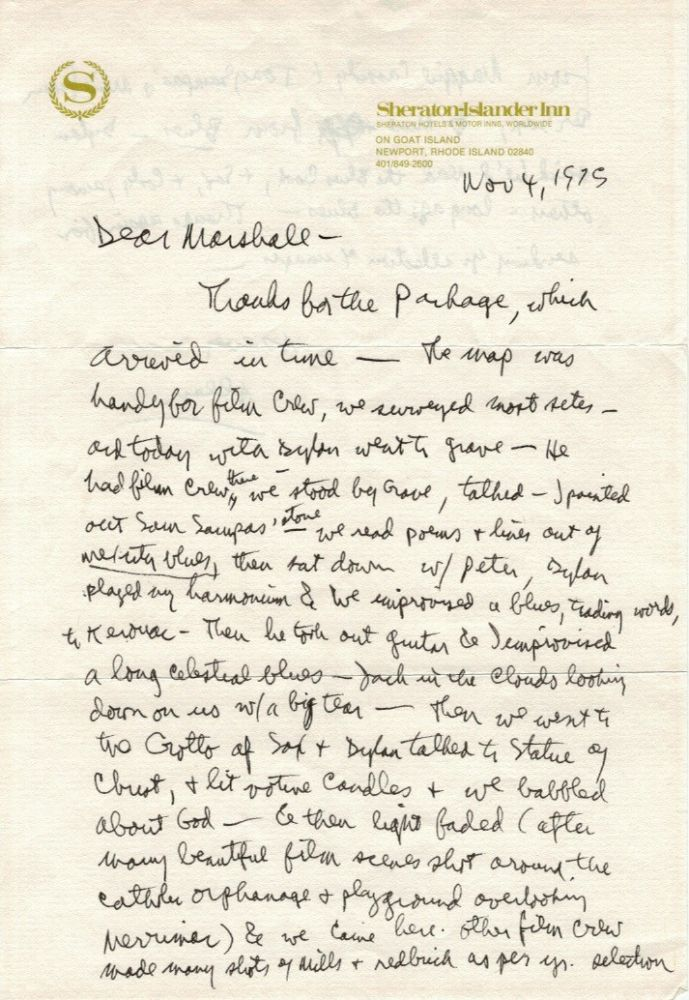 "Autograph Letter Signed (""Allen""), 1 1/2 pages, 4to, Newport, RI, November 4, 1975, to Beat collector, bibliographer, and photographer Marshall Clements about visiting Kerouac's grave with Bob Dylan, Peter Orlovsky, and a film crew"
