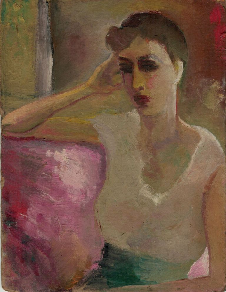 Original oil portrait of the poet's wife, Marion Morehouse, oil on board, 8 1/2 x 6 1/2 inches, signed on the back by the artist, no date. E. E. CUMMINGS.