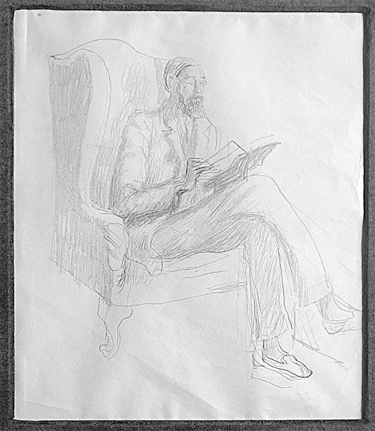 Lytton Strachey Reading. Original full length pencil portrait of Lytton Strachey sitting in a chair reading, 11 x 9 ½ inches, unsigned and undated but circa 1930.