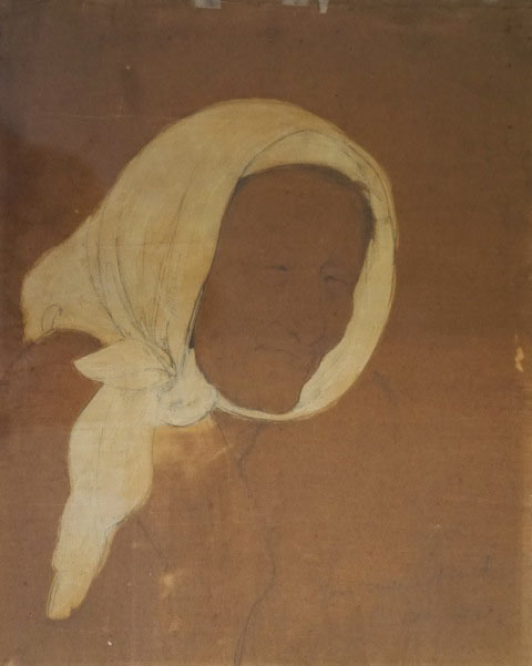 "Original charcoal and gouache drawing of an old woman wearing a white head scarf, 9 ½ x 13 inches, on brown paper, inscribed ""Your sincere friend Mina Loy"", undated but circa 1949-1952."