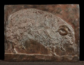 Ram. Original bronze relief sculpture of a ram in profile, approximately 10 ¼ x 13 ½ inches, signed Baskin and dated 1983. Leonard BASKIN.